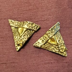 Vintage  Sterling Triangular Clip- on  earrings